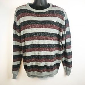Active Striped Fuzzy Long Sleeve Crewneck Pullover